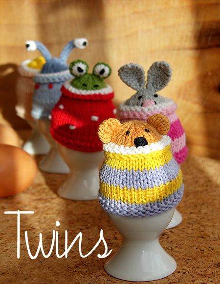 Twins' Knitting Pattern MiniShop: Funny Egg Cosy Gang (in English)
