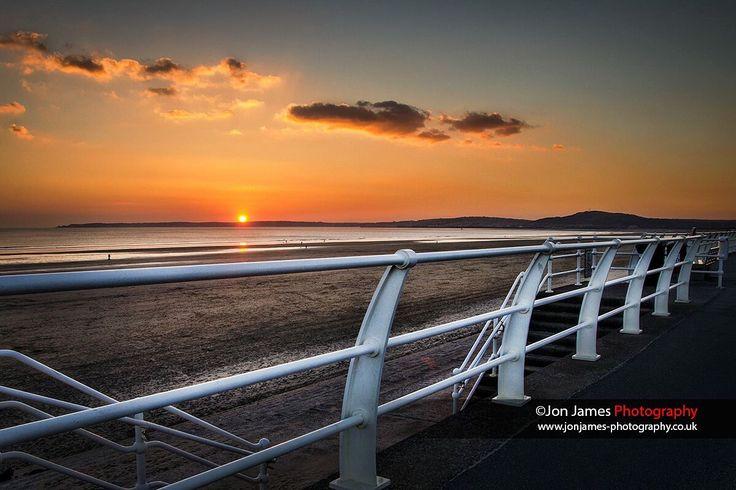 Aberavon beach, Port Talbot during sunset.