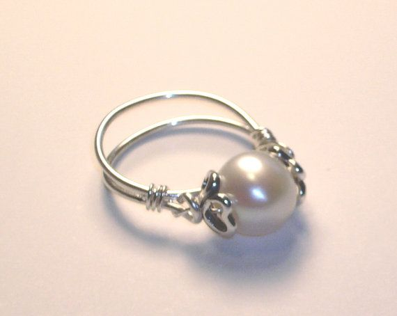 Pearl Ring, Heart Bead Caps, Sterling Silver on Etsy, $32.00