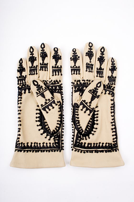 Charlene Mullen bespoke Indian Lace Leather Embroidered Gloves