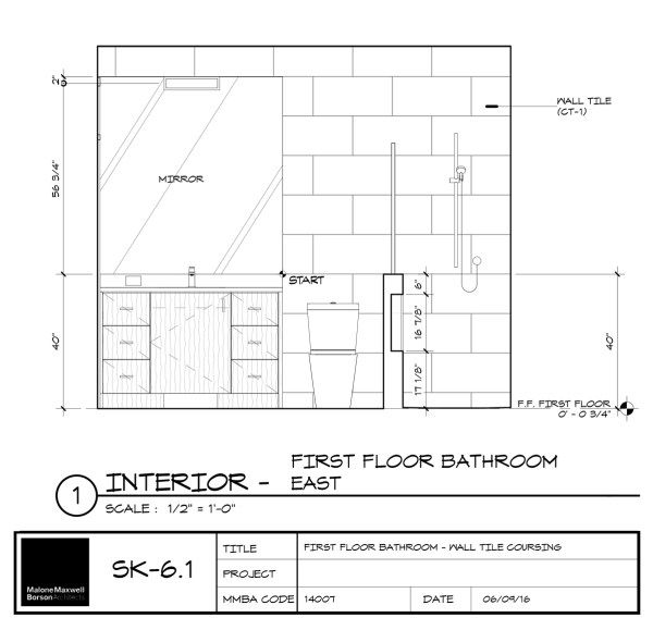 Avoid The Madness Laying Out Tile Interior Design And Construction Elevation Drawing Interior Design Presentation