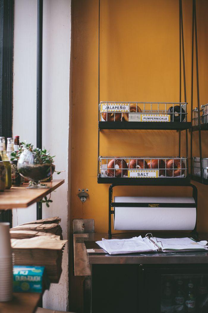 Hanging bagel basket/shelves