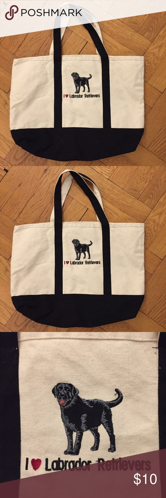 "I love Labrador Retrievers dog black canvas tote Excellent condition! Appears never used.  12"" x 16.5"" x 7"" Bags Totes"