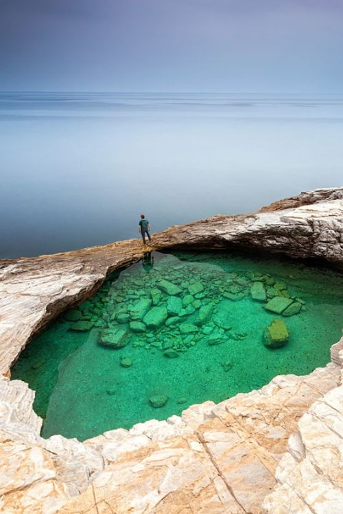 Green Hole, Thasos Island, Greece by Evgeni Dinev. http://www.mediteranique.com/hotels-greece/