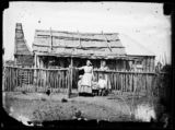 Woman and children and bark hut house, Hill End.Holtermann Collection : photographs of goldfield towns in N.S.W. and Victoria; Sydney and Melbourne streets and buildings, 1871-1876. http://www.acmssearch.sl.nsw.gov.au/search/itemDetailPaged.cgi?itemID=62519.  From the collection of the State Library of New South Wales http://www.sl.nsw.gov.au