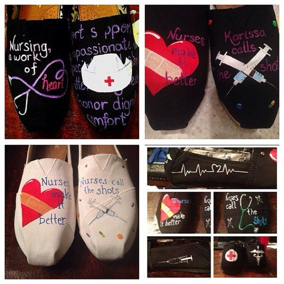 Nursing in style hand painted Toms style by GracefulFlourishes