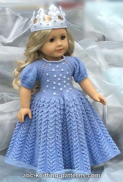 Knitting Patterns Galore - American Girl Doll Snow Princess Dress