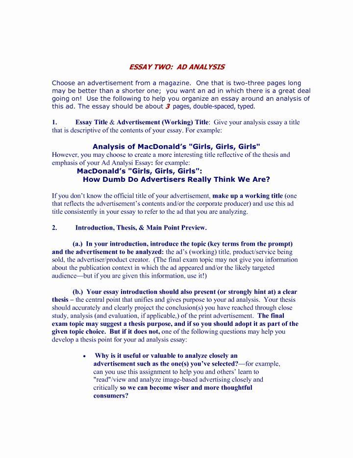 Advertisement Analysi Essay Sample Fresh Fast Line Help Rhetorical Examples Advertising Introduction