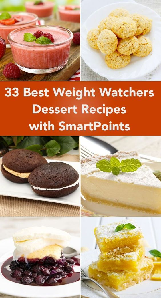33 Best Weight Watchers Dessert Recipes with SmartPoints including Fat Free Raspberry Cheesecake Fluff, Pie, Chocolate Marshmallow Bark, Cookies, Fudge, Baked Alaska Pie, Caramel Cookies, Whoopie Pies, Cake, Baked Apples, Blueberry Cobbler, Lemon Bars, and more!