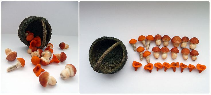 Wicker basket with Mushrooms, White mushrooms, chanterelles, 1/12 Dollhouse Miniature Scale by Galchi on Etsy