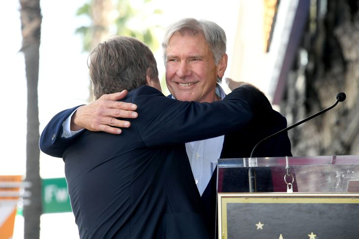 HOLLYWOOD, CA - MARCH 08:  Harrison Ford (R) attends as Mark Hamill is honored with a star on the Hollywood Walk of Fame on March 8, 2018 in Hollywood, California.  (Photo by Steve Granitz/WireImage) via @AOL_Lifestyle Read more: https://www.aol.com/article/entertainment/2018/03/08/star-wars-icon-mark-hamill-receives-hollywood-walk-of-fame-star-alongside-harrison-ford-george-lucas-and-r2d2/23380932/?a_dgi=aolshare_pinterest#fullscreen