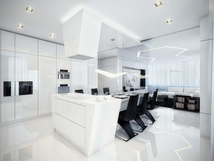Amazing Futuristic Black And White Apartment By Geometrix: Black And White  Dining Room And Kitchen Black Chair