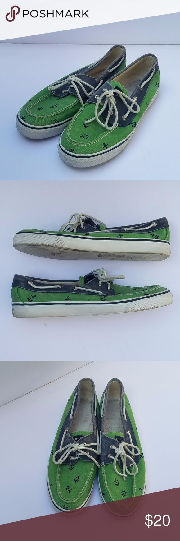 Sperry Top-Sider Canvas Boat Shoes Sperry Top-Sider Canvas Boat Shoes, Green and Navy Canvas boat shoes with white leather laces and navy embroidered anchors all-over.  Great condition, they are factory distressed, have only been worn a handful of times.  Size  8.5  363-F Sperry Shoes Flats & Loafers