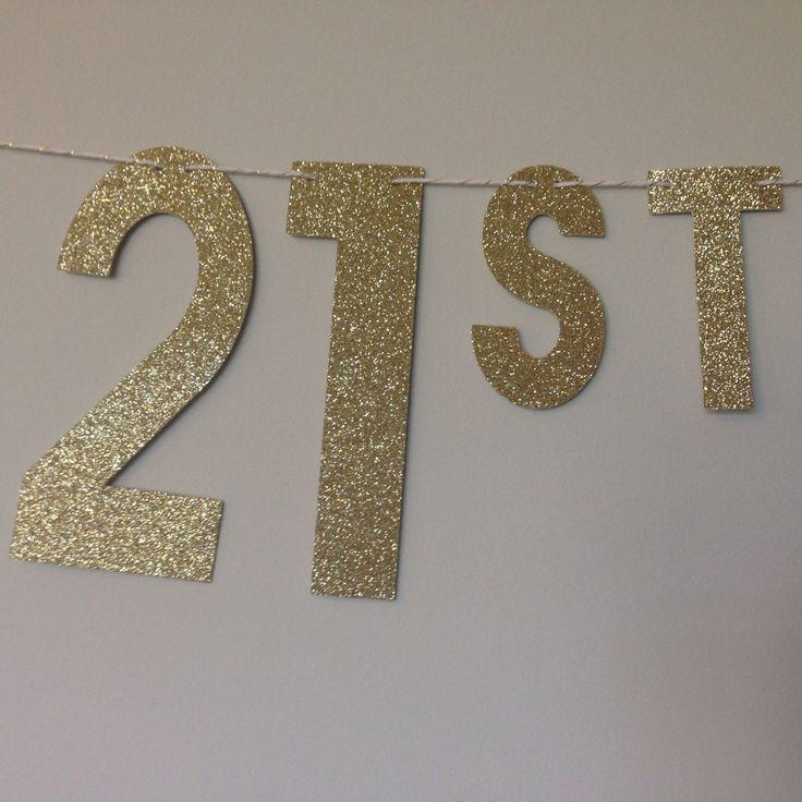 Gold Glitter Happy 21st Birthday Banner ~ Birthday Banner ~ Gold Glitter Birthday Banner ~ 21st Birthday Banner ~ Happy Birthday Banner by APartyInABag on Etsy