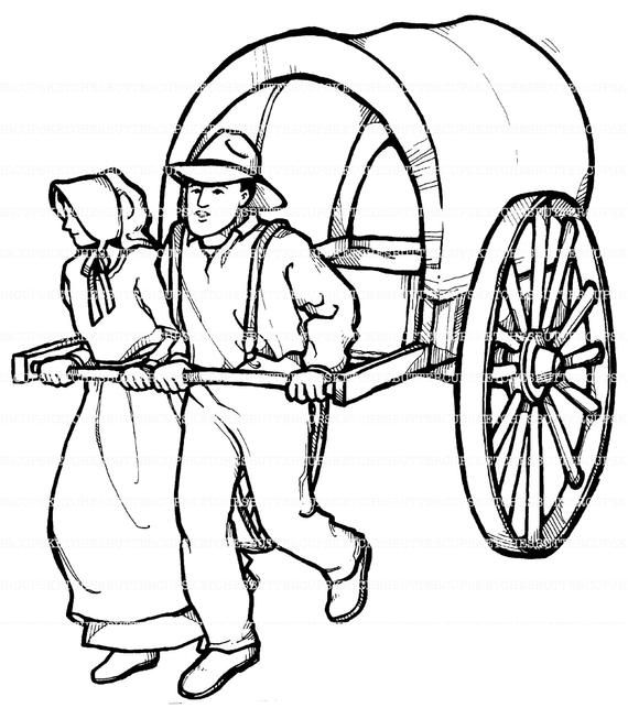 Pioneer Illustrations That Can Be Printed Off For Coloring Or You
