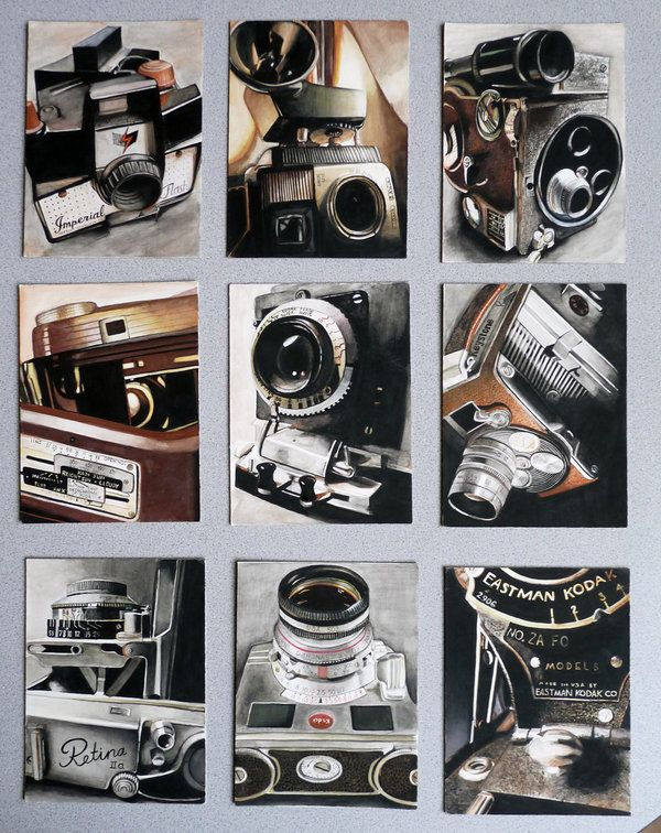 AP Portfolio Concentration 9 pieces all watercolor paintings done of micro shots of vintage cameras