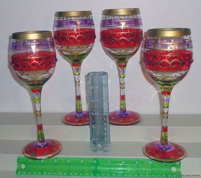 "Disney Parks Exclusive Mickey Mouse 9"" 12 Ounce Wine Glasses Stemware Set of 4"