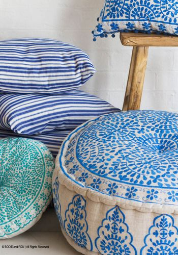 Nomad Embroidered Blue Linen Pouffe.