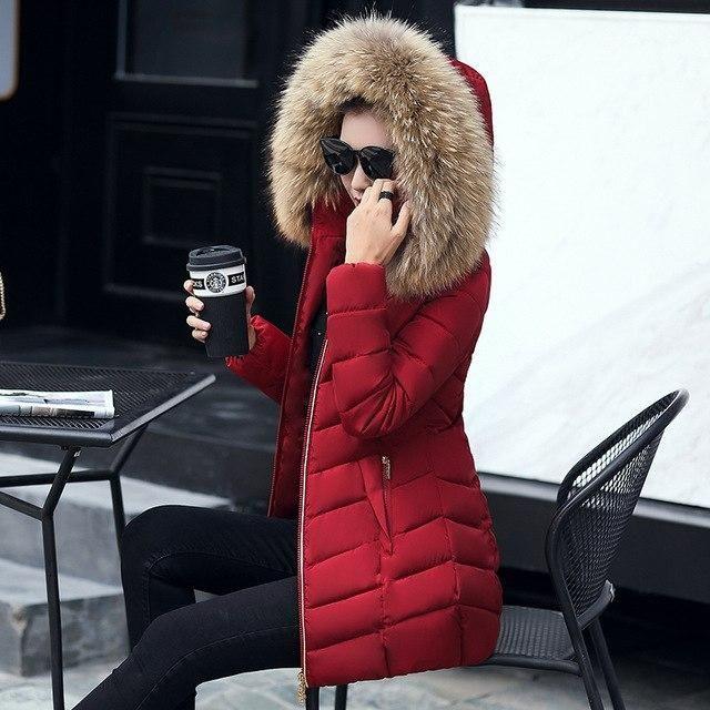 Winter jacket women fashion 2018 parkas mujer long coat female jacket thick hat collar big fur collar Women's winter coats Wine