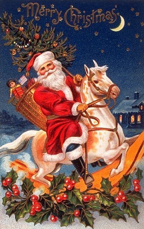 *SANTA ~ on Rocking Horse vintage  Christmas postcard