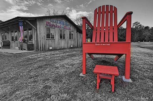 Red chair and footrest