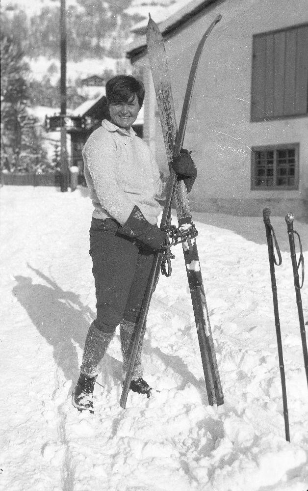 Elizabeth Hadley Richardson Holding Skis, Schruns, Austria - John F. Kennedy Presidential Library & Museum