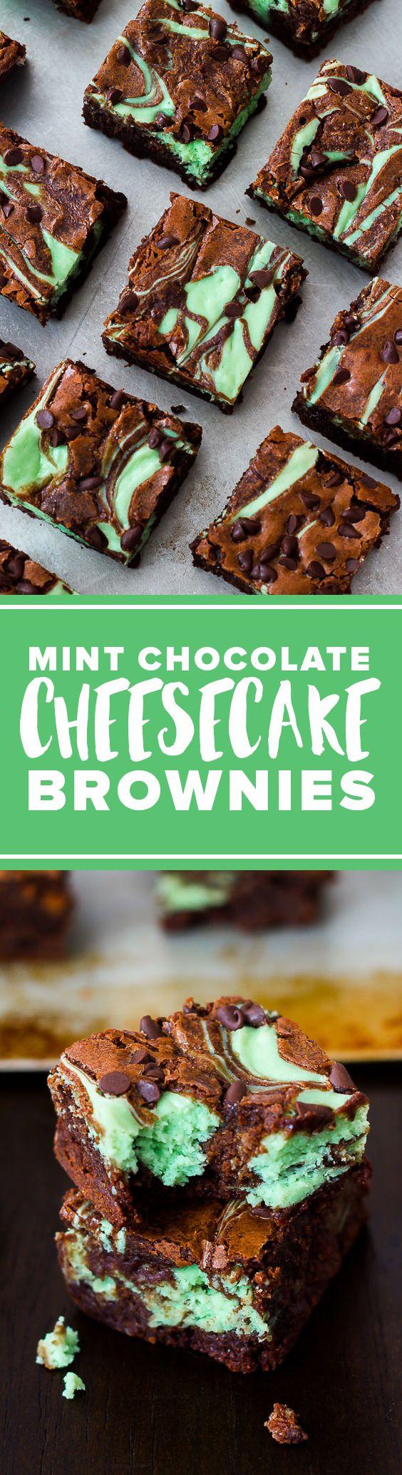 Homemade brownies with mint chocolate cheesecake swirl! Cheesecake swirl brownies recipe on http://sallysbakingaddiction.com/2013/03/10/mint-chocolate-chip-cheesecake-brownies/