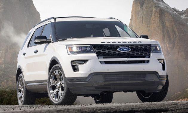 """Компания Ford остаётся верной стратегии развития линейки внедорожников. В ближайшем будущем выйдут пять новых SUV, а пока автопроизводитель работает с тем, что есть - Эксплорер, например, получил ряд изменений, которые """"освежили"""" модель. Передняя часть Ford Explorer Sport '2018 получила новый бампер с глянцевой вставкой, разделяющей окрашенную и чёрную части, а также другие противотуманные фары. Сзади изменений практически нет, если не считать, что трапециевидныепатрубки выхлопа б..."""