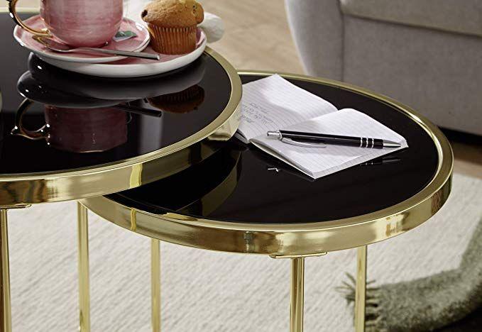 Affiliatelink Finebuy Design Satztisch Caro Schwarz Gold Beistelltisch Metall Glas Couchtisch Set Aus 2 Tisc Glas Couchtisch Couchtisch Set Wohnzimmertisch