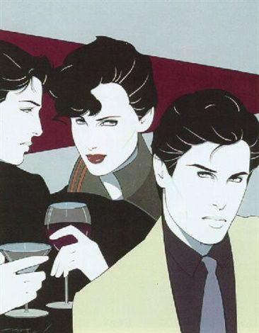 Patrick Nagel Figures with Cocktails Mixed Media on Paper 15 x 12 in