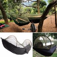 Wish | Hot Strength Parachute Fabric Camping Sleeping Hammock Hanging Bed With Mosquito Net (Color: Black)