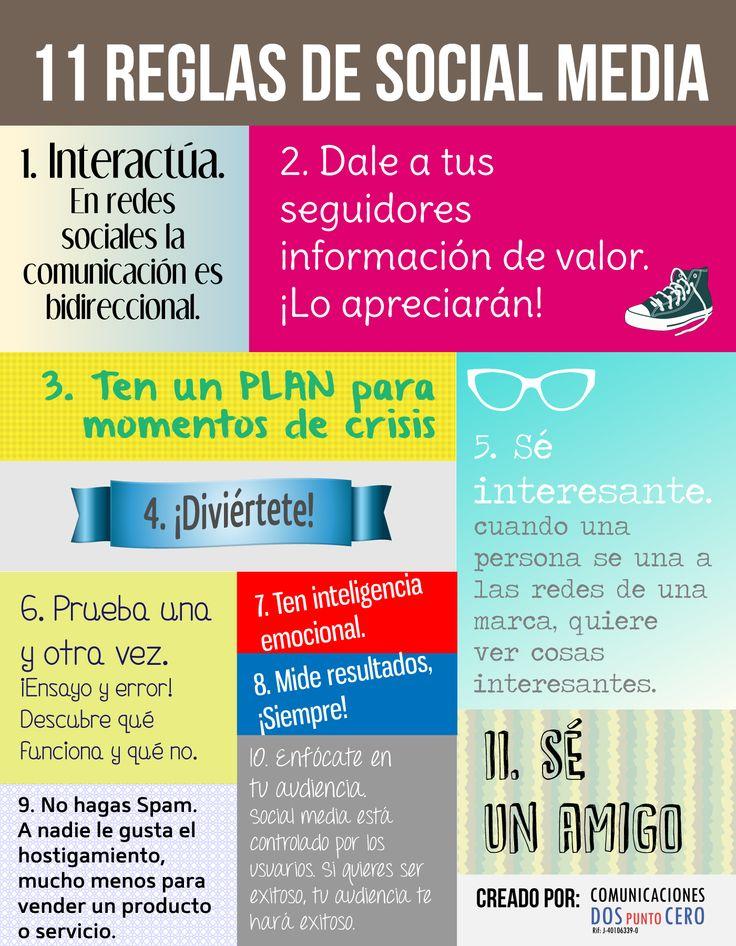 11 reglas de social media. Muy útiles. ¿Te gustan? ¿Cuáles aportarías?