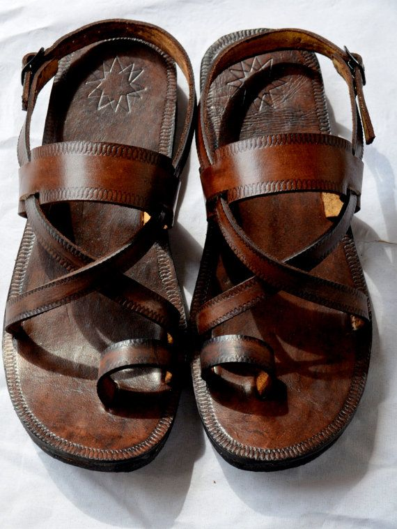 Cross Over Buckle Sling Leather Sandals-Handmade Sandals ...