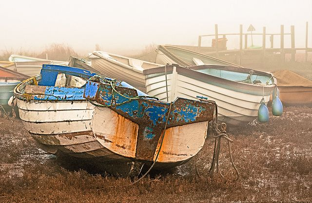 Old boats in the mist at Morston on the North Norfolk coast; Image taken and processed by Milly M