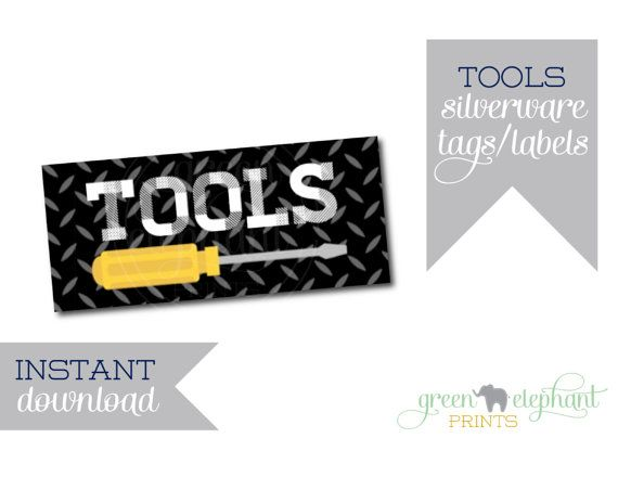 Tool Tags: Construction Party Printable Silverware Tags / Tools