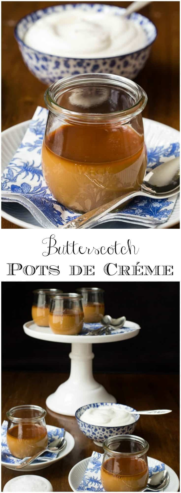 An elegant, French-inspired, make ahead dessert that always brings rave reviews. It's also crazy delicious! #butterscotch #potsdecreme #dessert #specialoccasion