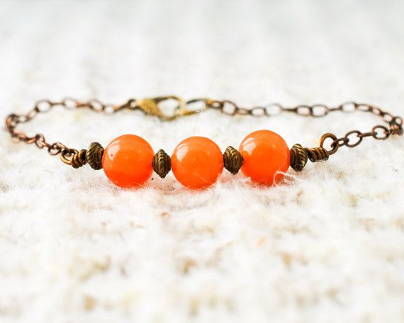 Orange Quartz Bracelet  Bronze Bracelet  Orange Bracelet