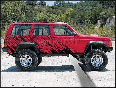 1984 2001 Jeep Cherokee Sport Country Wagoneer Splash Graphics Decals Matteblack | eBay