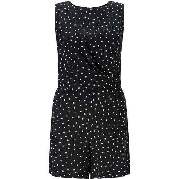 Polka Dot Drape Playsuit ($51) ❤ liked on Polyvore featuring jumpsuits, rompers, polka dot romper, playsuit romper, polka dot rompers and miss selfridge