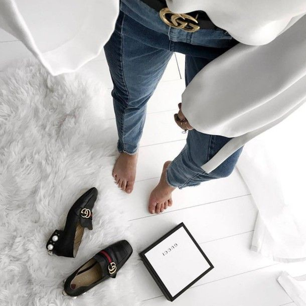 9dfd86585 Shoes: tumblr high heel loafers mid heel pumps gucci gucci gucci belt logo  belt jeans denim | Accessories in 2019 | Shoes, Trendy shoes, High heel  loafers