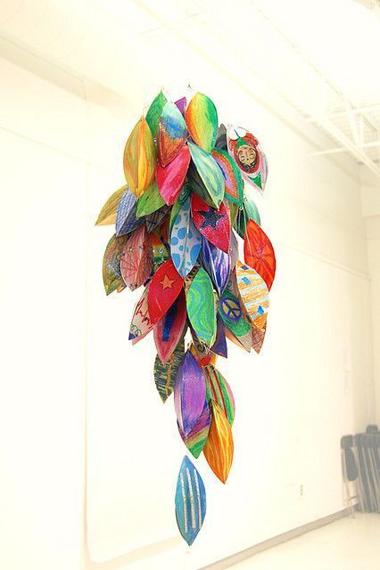 Beautiful hanging art project done with kids with tutorial and template