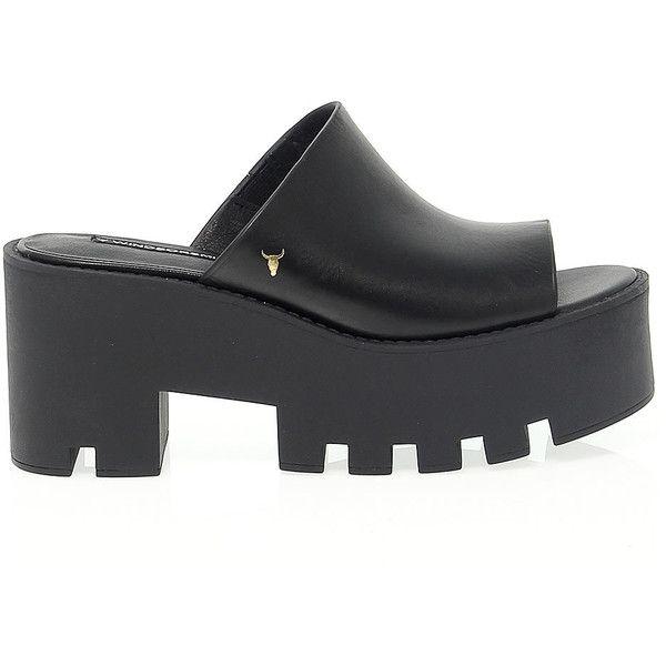 Windsor Smith High Heel Sandals (€102) ❤ liked on Polyvore featuring shoes, sandals, black platform shoes, leather sandals, leather platform sandals, black shoes and platform shoes