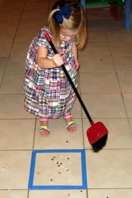 sweeping made into a game! {also pinned for the paint-chip/clothespin activity as well}