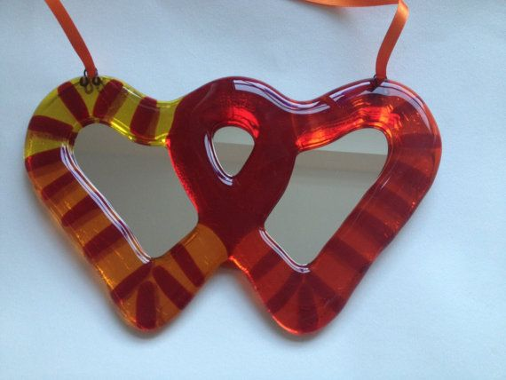 Valentine's Day entwined hearts fused glass by AndyBullGlassArt
