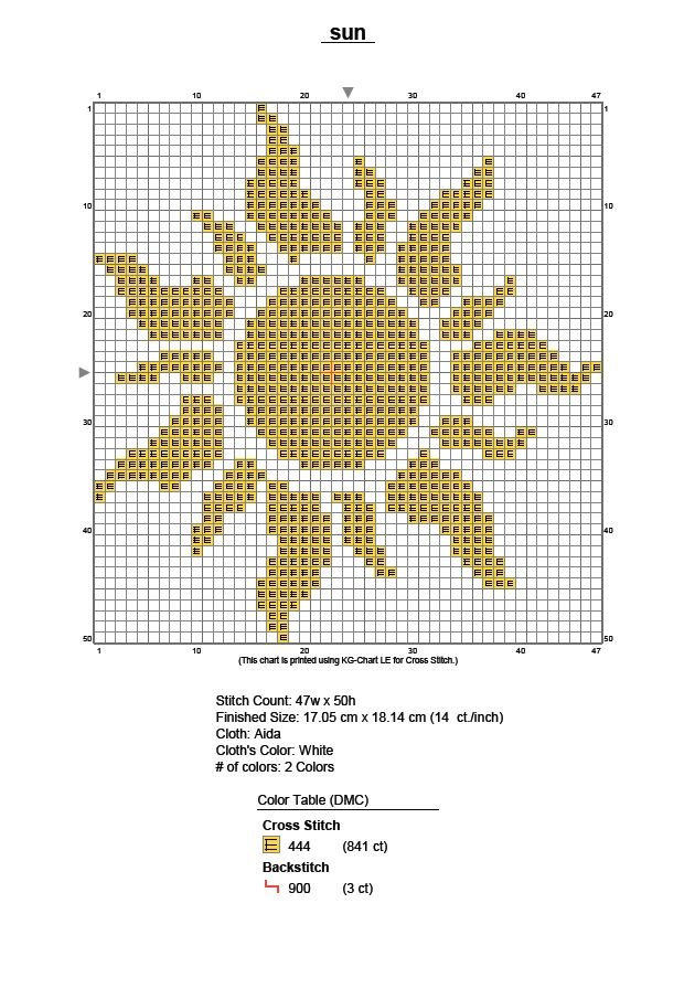 EMBROIDERY – CROSS-STITCH / BORDERIE / BORDUURWERK – SUN / SOLEIL / ZON - Tangled sun cross stitch pattern Disney