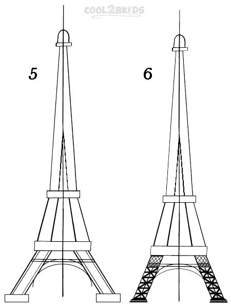 how to draw the eiffel tower in 10 steps