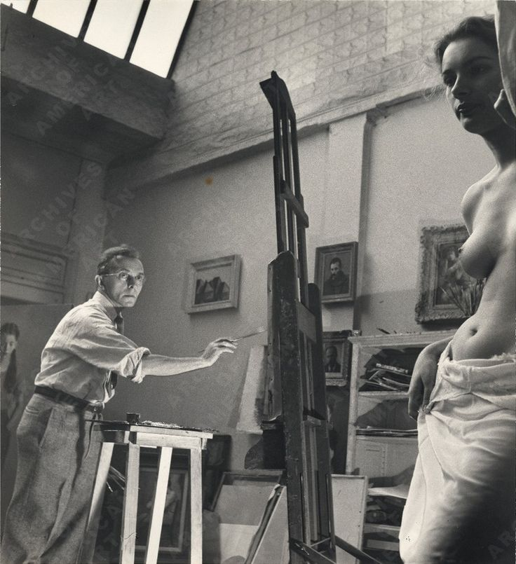 Raphael Soyer painting, ca. 1950 / Alfred Puhn, photographer. Alfred Puhn photographs, [ca. 1950-1959]. Archives of American Art, Smithsonian Institution. #artistmodel #raphaelsoyer