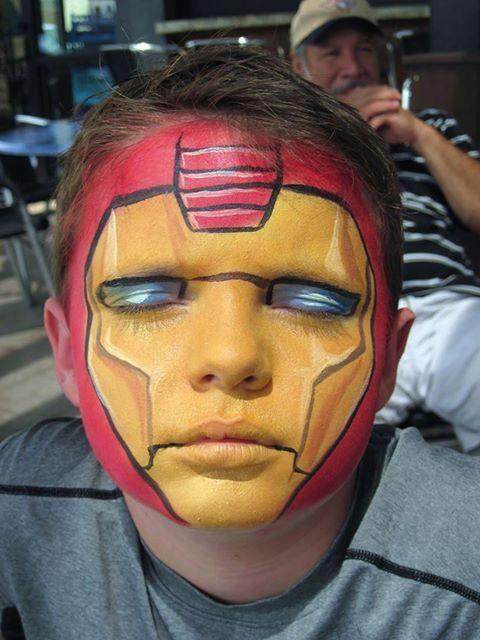 Iron Man. Con este maquillaje y una bolsa roja de plastico. http://www.multipapel.com/familia-material-para-disfraces-maquillaje-bolsas-de-color.htm
