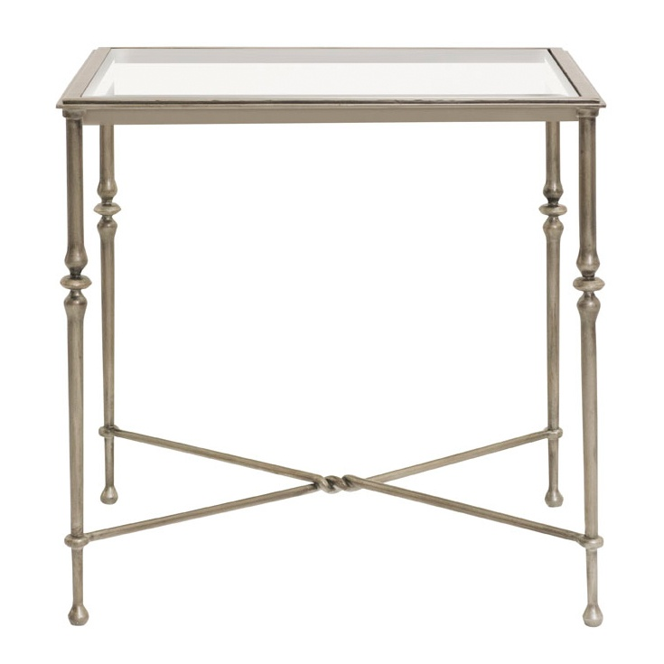 Lowell Metal End Table U2013 Soft Silvery Gold And Glass. Also Available As