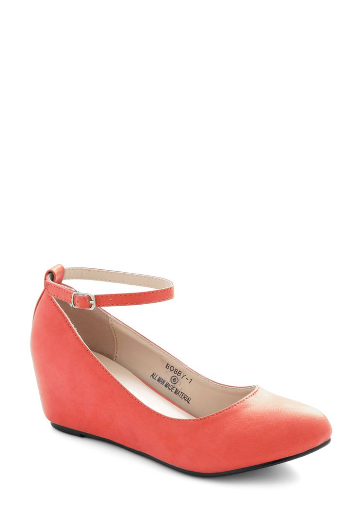 Take a Stride With Me Wedge in Coral. Some may take a spin around town to show off their fancy new car, but your type of joy ride is one spent navigating about in these coral shoes. #coral #modcloth